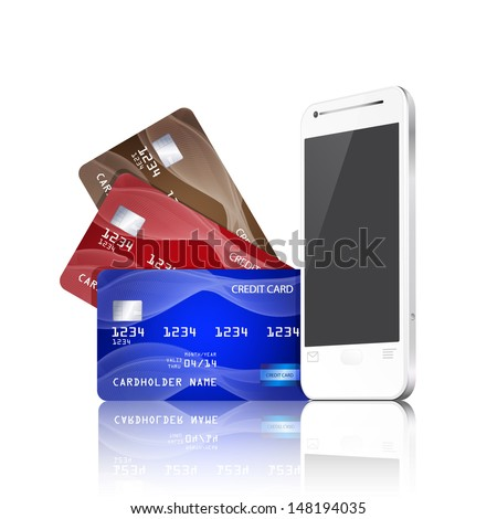 Mobile phone with credit cards. Mobile payment concept. EPS10 vector. - stock vector