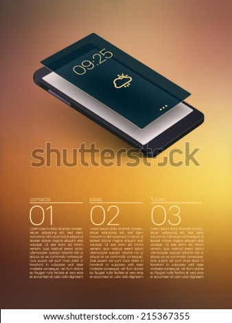 mobile phone with 3d screen - vector illustration - stock vector