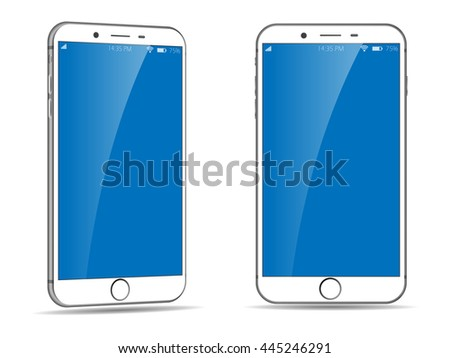 Mobile Phone with different views. Iphone style smartphone. White Smartphone. Cellphone Vector Illustration. Cell phone. Smartphone isolated.  - stock vector