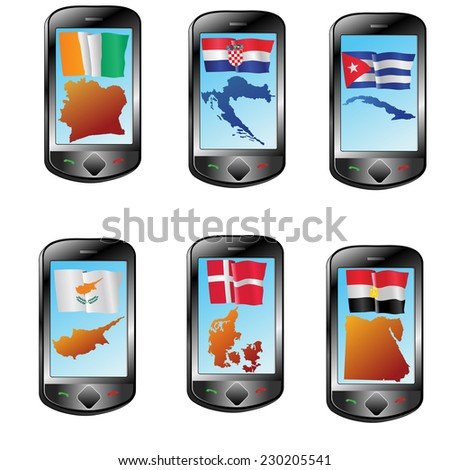 Mobile phone with flag and map - stock vector