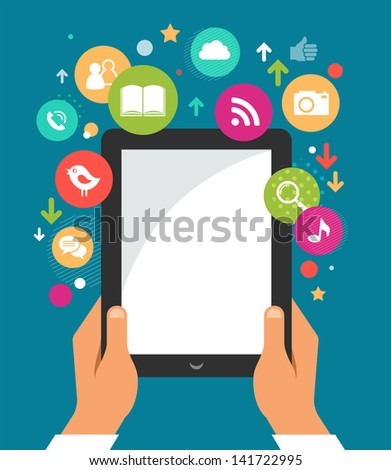 mobile phone with icons - infographic and website background - stock vector