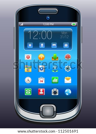 Mobile phone with icons, smartphone original design, vector.