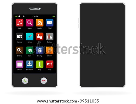 Mobile phone with icons, smartphone realistic vector illustration. - stock vector