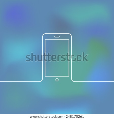 Mobile phone with lines - stock vector