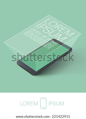 mobile phone with magnified screen - vector illustration  - stock vector