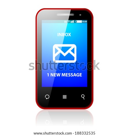 mobile phone with message sign - stock vector