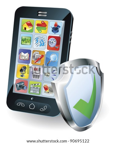 Mobile phone with shield tick icon indicating it is protected, safe, secure or insured.