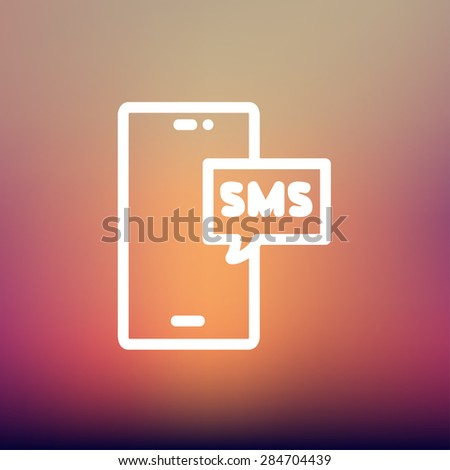 Mobile phone with SMS can receive and send messages icon thin line for web and mobile, modern minimalistic flat design. Vector white icon on gradient mesh background. - stock vector