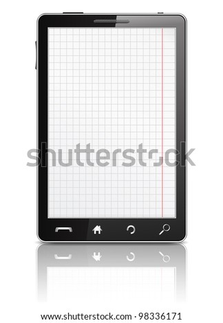 Mobile phone with squared paper sheet on the screen, vector eps10 illustration - stock vector