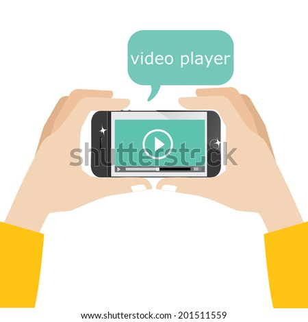 Mobile phone with video player on the screen - stock vector