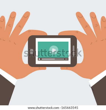 Mobile phone with video player on the screen in the human hands - stock vector