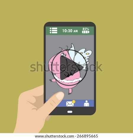 Mobile phone with video player on the screen in the human hands. place for text - stock vector