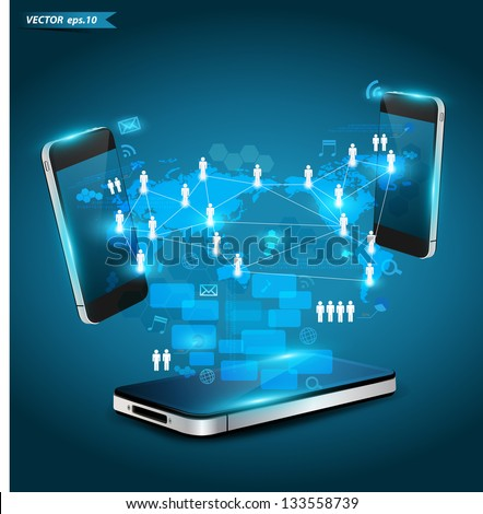 Mobile phones technology business concept, Creative network information process diagram, Vector illustration modern template design - stock vector