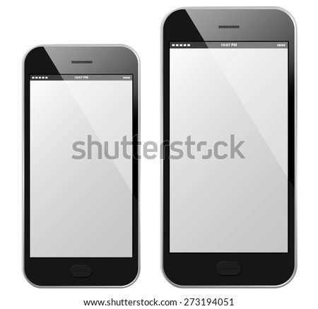 Mobile Phones Vector illustration - Black - Similar to iphone - stock vector