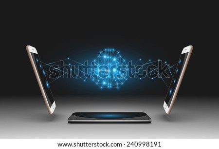 Mobile Phones Vector Illustration with brain. - stock vector