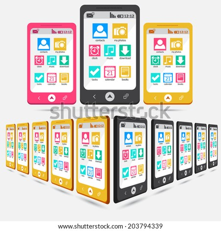 Mobile phones with icons flat style vector illustration can be used