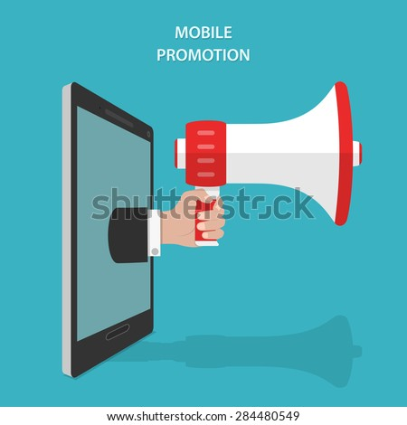 Mobile Promotion Flat Isometric Vector Concept. Mans Hand With Megaphone Appeared From Smartphone or Tablet. - stock vector