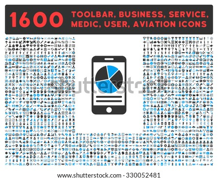 Mobile Report vector icon and 1600 other business, service tools, medical care, software toolbar, web interface pictograms. Style is bicolor flat symbols, blue and gray colors, rounded angles, white - stock vector