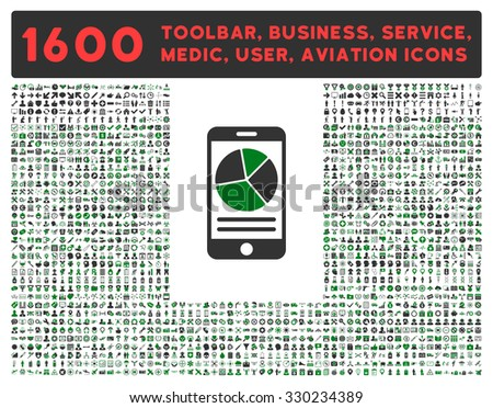 Mobile Report vector icon and 1600 other business, service tools, medical care, software toolbar, web interface pictograms. Style is bicolor flat symbols, green and gray colors, rounded angles, white - stock vector