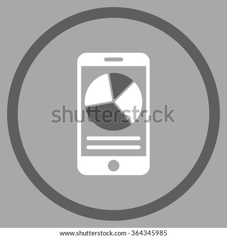 Mobile Report vector icon. Style is bicolor flat circled symbol, dark gray and white colors, rounded angles, silver background. - stock vector