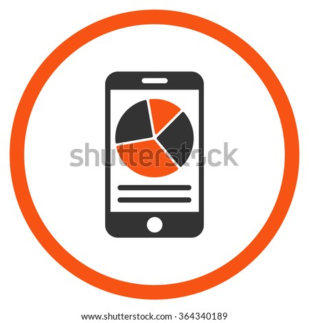 Mobile Report vector icon. Style is bicolor flat circled symbol, orange and gray colors, rounded angles, white background. - stock vector