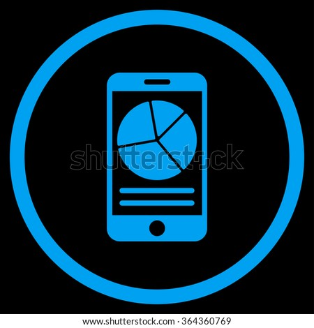 Mobile Report vector icon. Style is flat circled symbol, blue color, rounded angles, black background. - stock vector