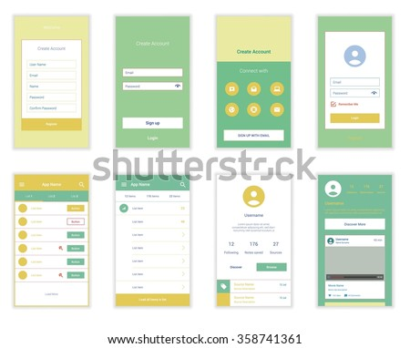 Mobile Screens User Interface Kit. Modern user interface UX, UI screen template for mobile smart phone or responsive web site. Welcome, on boarding, login, sign-up and home page layout. - stock vector