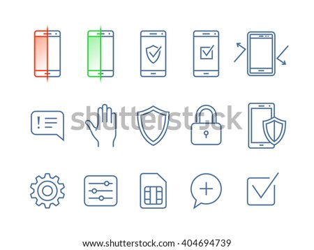 Mobile security icons. Vector icons mobile security app - stock vector