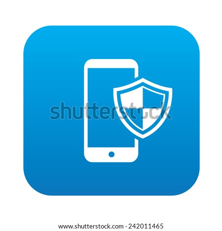 Mobile security on blue button,clean vector - stock vector