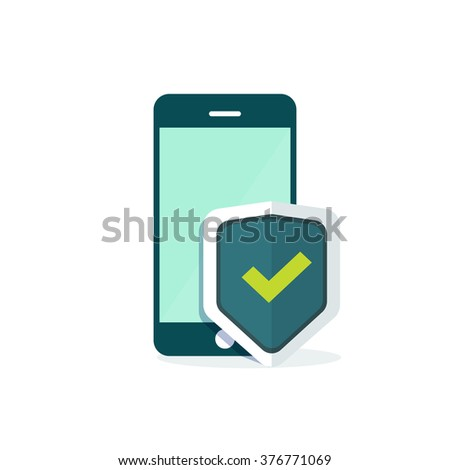 Mobile security protection vector illustration, security smartphone app sign, screen shield flat icon, mobile phone protection guard technology concept, modern emblem design isolated on white - stock vector