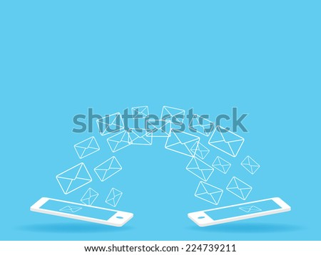 mobile Send mail - stock vector