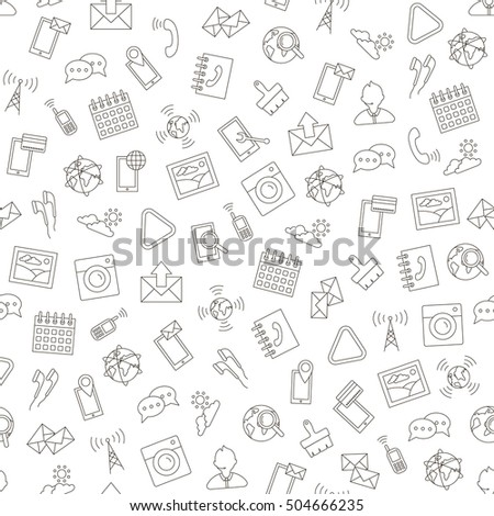 Mobile service icons handmade style