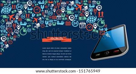 Mobile shipping app icon splash illustration with space for your own text. Vector layered for easy editing. - stock vector