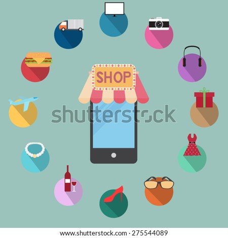 mobile shop - stock vector