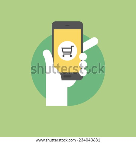 Mobile shopping concept, hand holding smartphone with retail application. Flat icon modern design style vector illustration concept. - stock vector