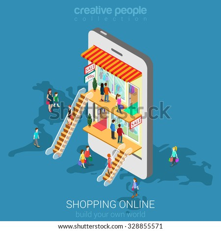 Mobile shopping e-commerce online store flat 3d web isometric infographic concept vector and electronic business, sales, black Friday. People walk on floors in stores boutiques like inside smartphone. - stock vector
