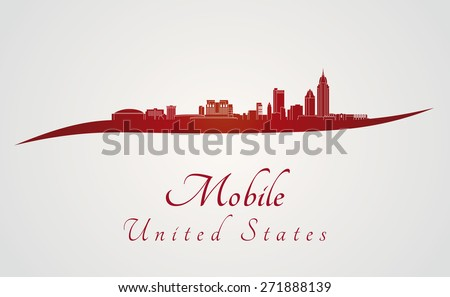 Mobile skyline in red and gray background in editable vector file - stock vector
