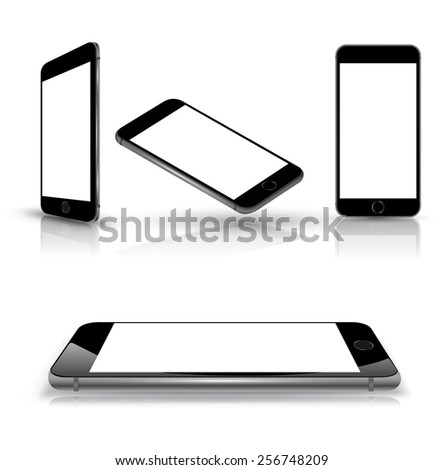 Mobile smart phone with blank screen. Set of 4 view various position. Isolated on white with shadows. Vector illustration. - stock vector