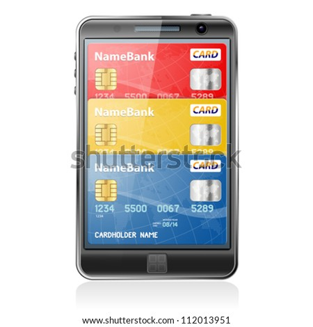 Mobile Smart Phone with Credit Cards. Internet Shopping and Electronic Payments Concept - stock vector