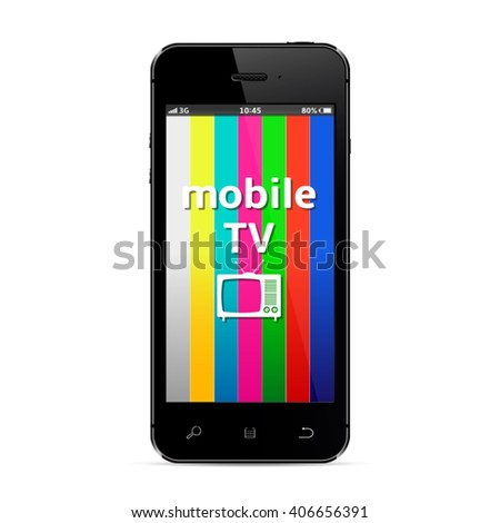 Mobile smart phone with tv icon on test pattern screen - stock vector