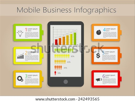 Mobile/Smartphone & Colorful Tags/Text Dialog, Business Icon, Number and Information Text, Mobile Business Infographic Elements. Vector Illustration - stock vector