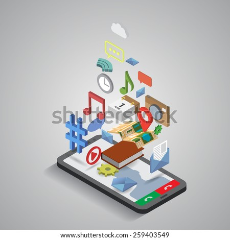 Mobile smartphone services and applications. Isometric illustration - stock vector