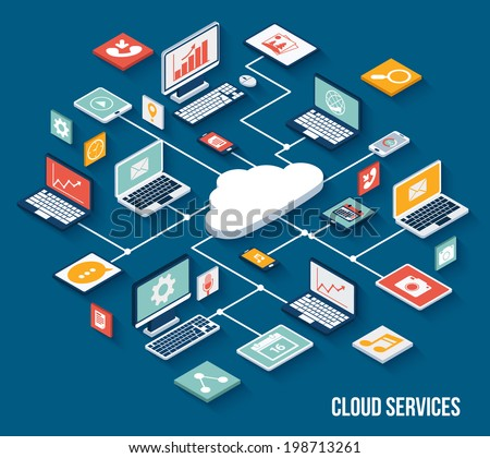 Mobile smartphone services cloud concept with isometric application buttons set vector illustration - stock vector