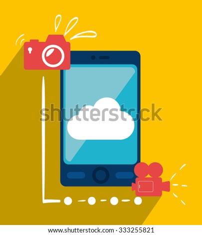 Mobile smartphone technology graphic design, vector illustration. - stock vector