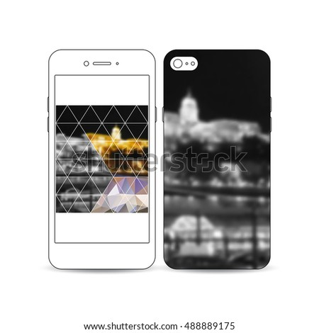 Mobile smartphone with an example of the screen and cover design isolated on white. Colorful polygonal background, blurred image, night city landscape, modern stylish triangular vector texture