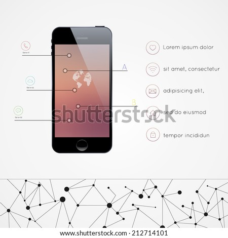 Mobile Smartphone with icon interface. Infographics vector template. - stock vector