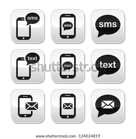 Mobile sms text message mail buttons set - stock vector