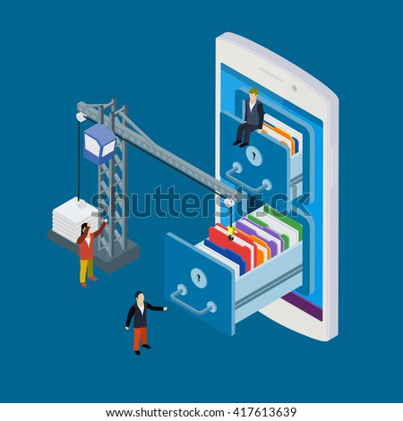 Mobile storage flat 3d isometric business technology server concept web vector illustration. Micro businessman put data folder into abstract data base server. - stock vector