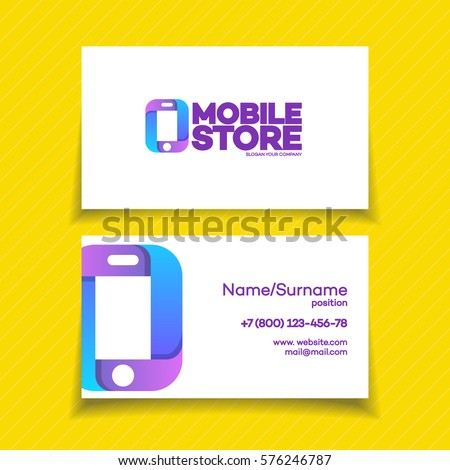 Mobile store business card design template stock vector royalty mobile store business card design template with phone logo on yellow background can used for mobile colourmoves