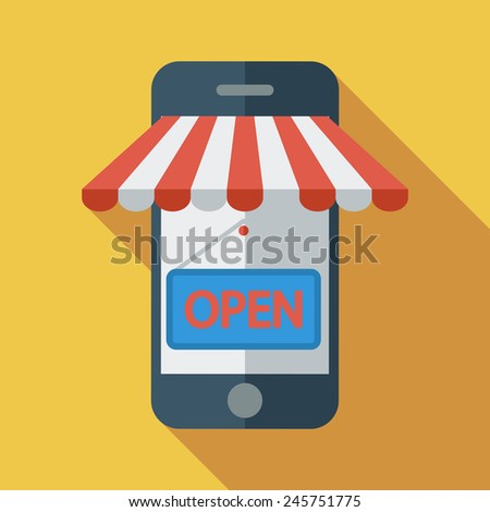 Mobile store. Color Flat design style. Vector illustration. - stock vector